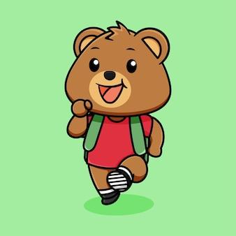 Fofo urso feliz vestido para ir ao desenho animado da escola sobre fundo verde claro
