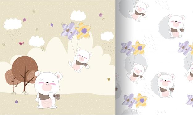 Fofo urso feliz voando sem costura padrão