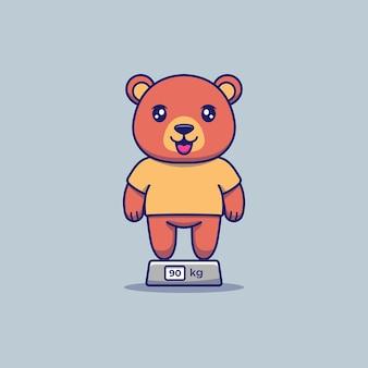 Fofo urso gordo pesando