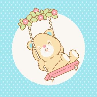 Fofo urso kawaii balançando anúncio um padrão transparente sem costura