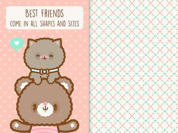 Fofo urso kawaii e gato com padrão sem emenda