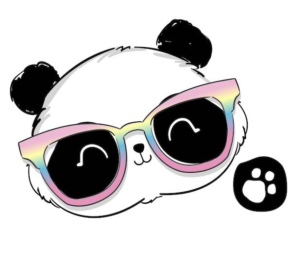 Fofo urso panda com ilustração de óculos.