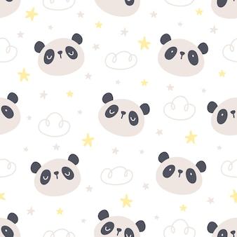 Fofo urso panda e estrelas sem costura de fundo