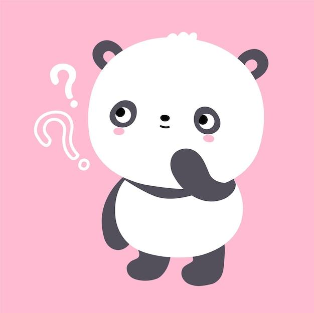 Fofo urso panda kawaii engraçado com ponto de interrogação. ícone de ilustração vetorial plana dos desenhos animados do personagem kawaii. desenho animado bonito urso panda pensa conceito de ícone de personagem