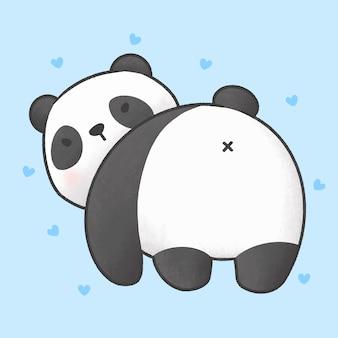 Fofo urso panda, olhando para trás dos desenhos animados mão estilo desenhado