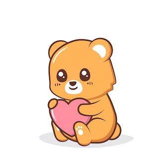 Fofo urso pardo abraçando um coração