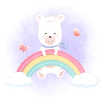 Fofo urso pendurado na ilustração de arco-íris e borboletas
