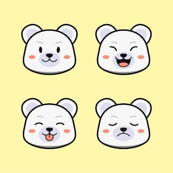 Fofo urso polar branco com conjunto de animais de expressão de rosto