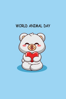 Fofo urso polar com coração na ilustração dos desenhos animados do dia dos animais