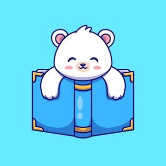 Fofo urso polar com ilustração de ícone de vetor de livro dos desenhos animados. conceito de ícone de educação animal isolado vetor premium. estilo flat cartoon
