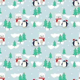 Fofo urso polar e pinguim no natal sem costura padrão