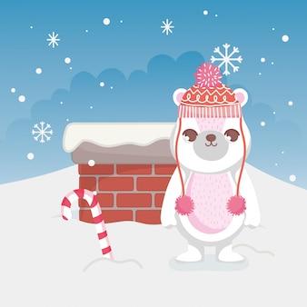 Fofo urso polar feliz natal