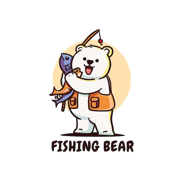 Fofo urso polar fisher com vara de pescar segurando ilustração de peixe