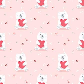 Fofo urso polar mantenha um padrão sem emenda de coração.