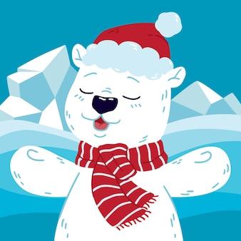 Fofo urso polar no norte com chapéu de papai noel e lenço.