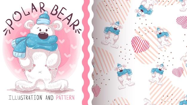 Fofo urso polar - padrão sem emenda