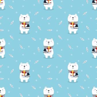 Fofo urso polar segurar um gify no padrão sem emenda de temporada de natal