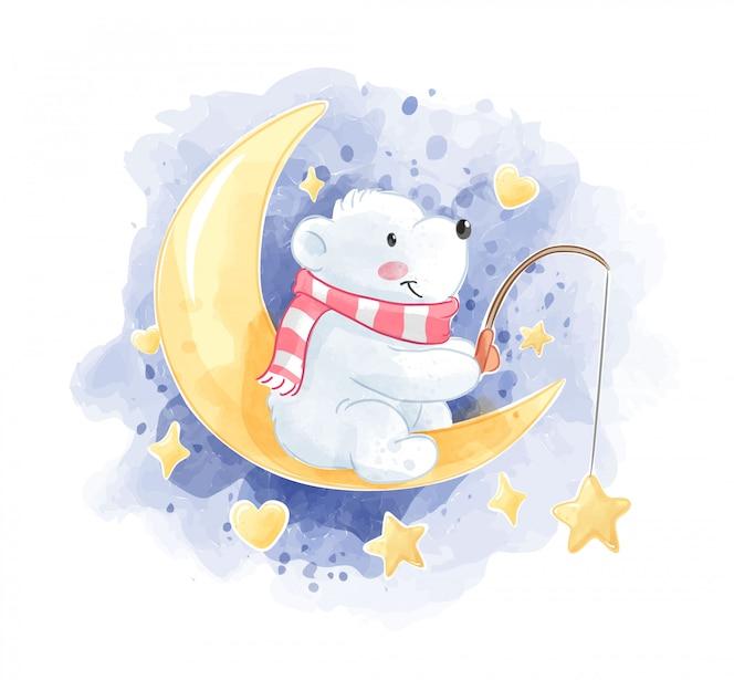 Fofo urso polar sentado na ilustração da lua