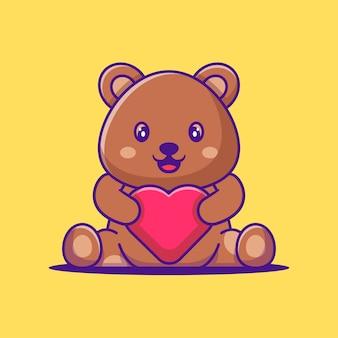 Fofo urso segurando a ilustração dos desenhos animados de amor. conceito de estilo de desenho animado animal
