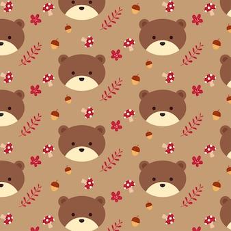 Fofo urso sem costura padrão para o outono