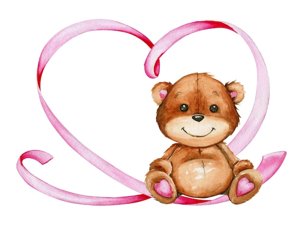 Fofo urso sentado, coração feito de fita rosa.