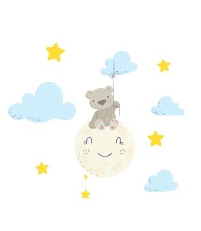 Fofo urso sentado na nuvem e segurando um balão de nuvens