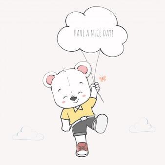 Fofo urso tem uma mão de desenhos animados de bom dia desenhada