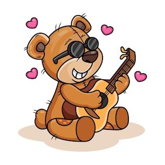 Fofo urso tocando guitarra ilustração do ícone dos desenhos animados. conceito de ícone de animal isolado no fundo branco