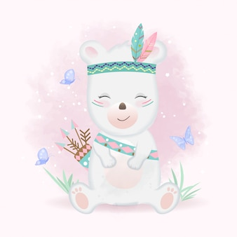 Fofo urso tribal com penas e borboletas