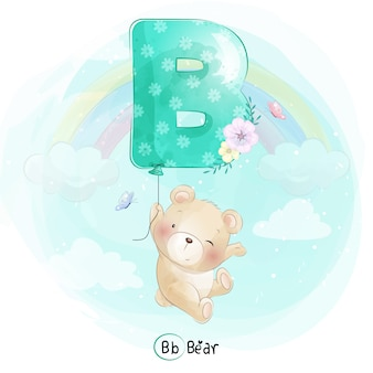 Fofo urso voando com balão alfabeto-b