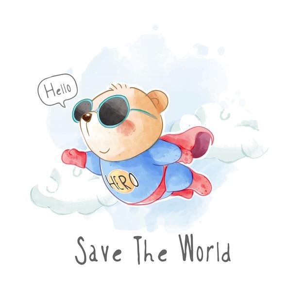 Fofo urso voando em ilustração de uniforme de super-herói