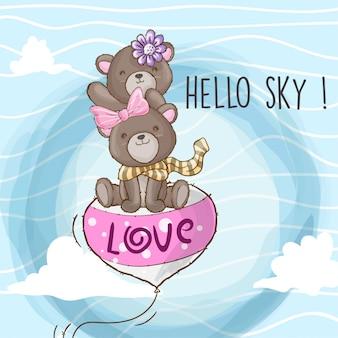 Fofo urso voando em um animal de mão desenhada de balão
