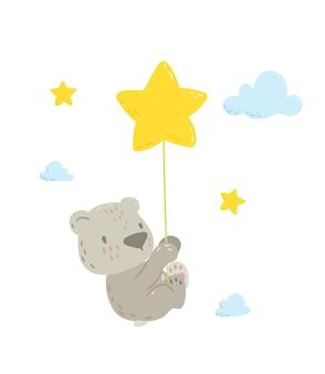 Fofo urso voando no balão estrela