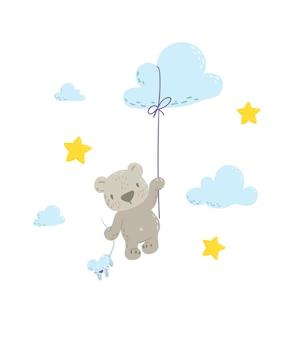 Fofo urso voando no balão nuvem