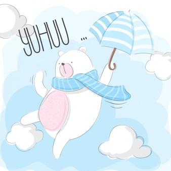 Fofo urso voando no céu com guarda-chuva