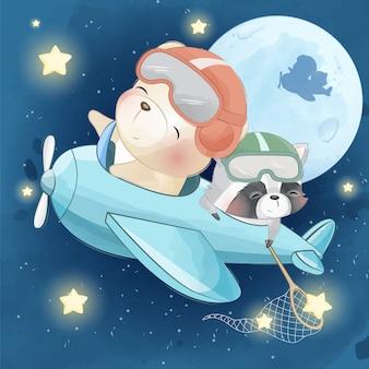 Fofo urso voar na lua com pequeno guaxinim