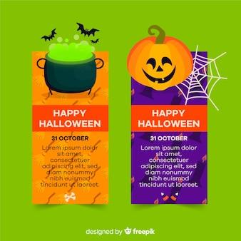 Fofos banners plana de halloween com espaço de cópia