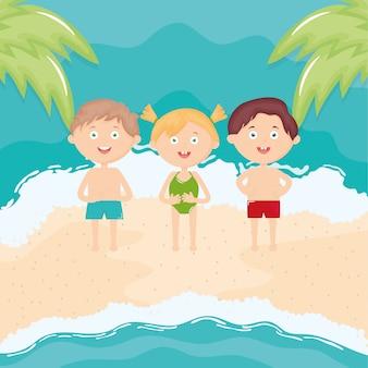 Fofos criancinhas com maiô na praia caracteres