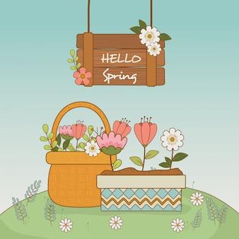 Fofos flores e folhas na cena de paisagem de maconha