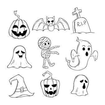 Fofos ícones de halloween preto e branco com doodle ou mão desenhado estilo