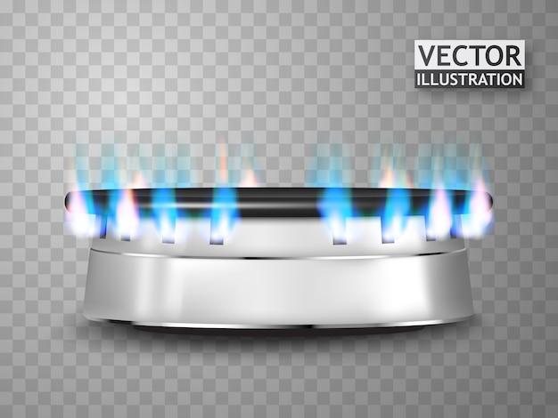 Fogão a gás isolado com fogo.