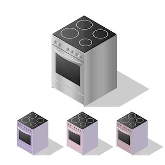 Fogão de cozinha elétrico isométrico isolado