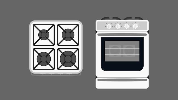 Fogão de cozinha em estilo simples. fogão moderno para cozinha. isolado. vetor.