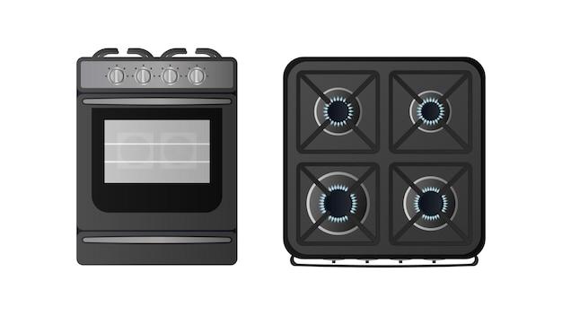 Fogão de cozinha preto com vista superior. fogão a gás incluso. forno moderno para cozinha em estilo realista. isolado. vetor.