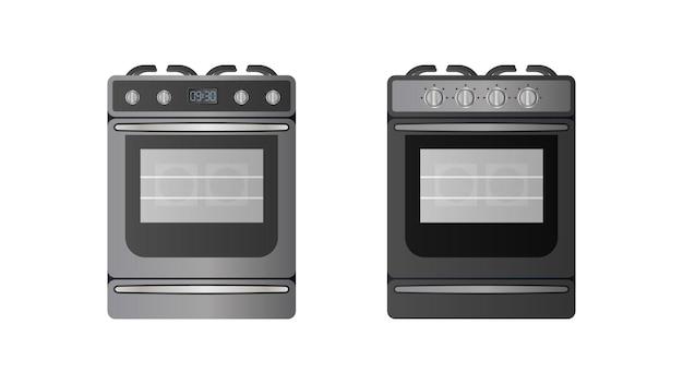 Fogão de estilo realista. forno moderno para a cozinha. isolado. vetor.
