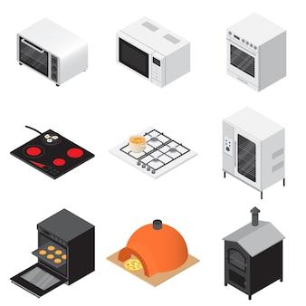 Fogão de forno conjunto de ícones de lareira