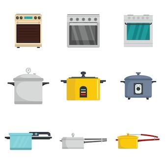 Fogão de forno panela fogão queimador conjunto de ícones estilo simples