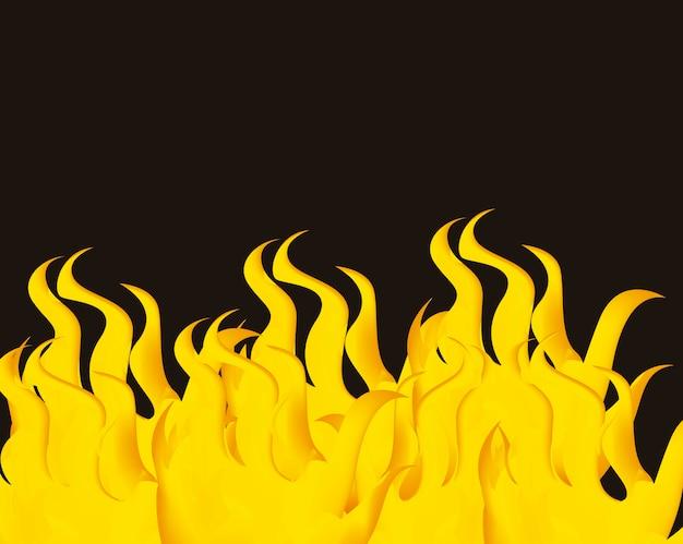 Fogo amarelo sobre ilustração vetorial de fundo preto