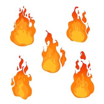 Fogo, chamas de diferentes formas em fundo branco. ilustração