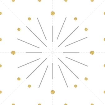 Fogo de artifício cinzento sem costura com padrão de ponto de ouro no fundo branco, como um relógio